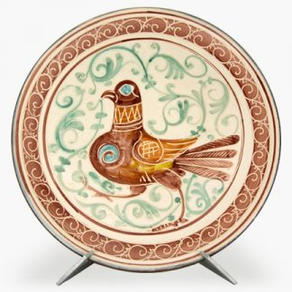 "Bram 17¼"" Hand-painted Platter - Burgundy Swirly Bird Design"
