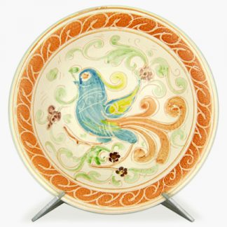 "Bram 14¾"" Hand-painted Serving Bowl - Bluebird Design"