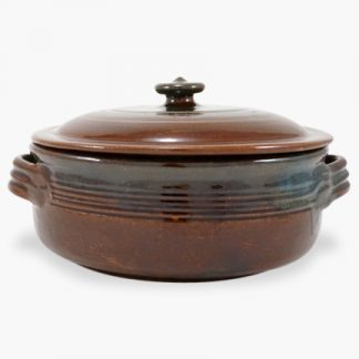 Bram 5 quart Round Covered Casserole - Assalie Brown with Turquoise Accents