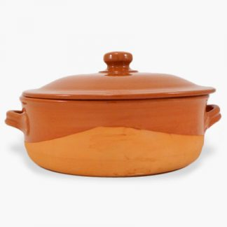 Vulcania 7½ quart Round Covered Casserole - Half-Glazed Terra Cotta