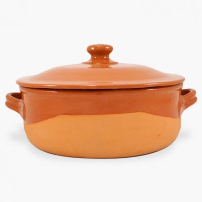 Vulcania 9 quart Round Covered Casserole - Half-Glazed Terra Cotta