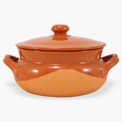 Vulcania 2½ quart Bean Pot - Round Covered Casserole - Half-Glazed Terra Cotta