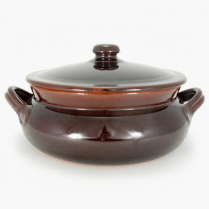 Vulcania 3½ quart Bean Pot - Round Covered Casserole - Brown