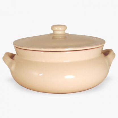 Vulcania 3½ quart Bean Pot - Round Covered Casserole - Cream