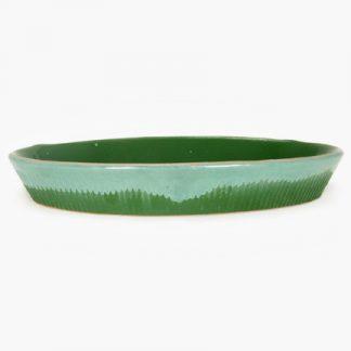 "Bram 18"" x 11½"" Oval Baker - Green Drip Glaze"