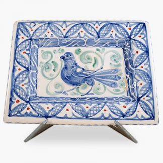 "Bram 15"" x 11½"" Hand-painted Rectangular Platter - Blue Bird Design"