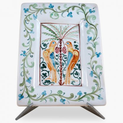 "Bram 11½"" x 15"" Hand-painted Rectangular Platter - Love Birds Design"
