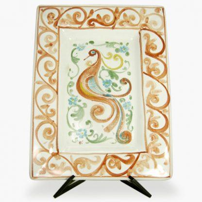 """Bram 11½"""" x 15"""" Hand-painted Rectangular Platter - Peacock with Swirls Design"""