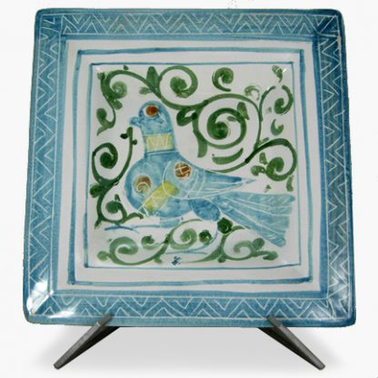 "Bram 13¼"" Hand-painted Square Platter - Blue Swirly Bird Design"