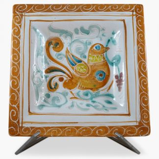 "Bram 13¼"" Hand-painted Square Platter - Orange Bird Design"