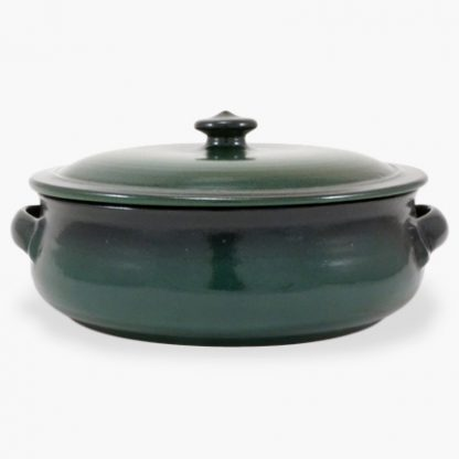 Bram 4 quart Rondeau - Green with Black Overspray