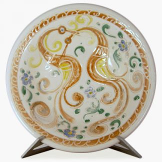 "Bram 14¾"" Hand-painted Serving Bowl - Swirly Birds Design"