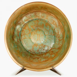 "Bram 16"" Hand-painted Serving Bowl - Turquoise Love Birds Design"