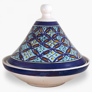 Bram 2 quart Hand-painted Tagine - White and Blue Arabesque with Light Blue and Orange Accents