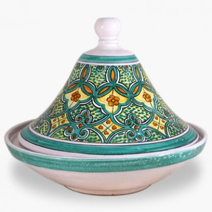 Bram 2 quart Hand-painted Tagine - White and Green and Yellow with Orange Accents