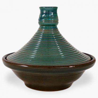 Bram 2 quart Tagine - Brown with Green Drip Glaze