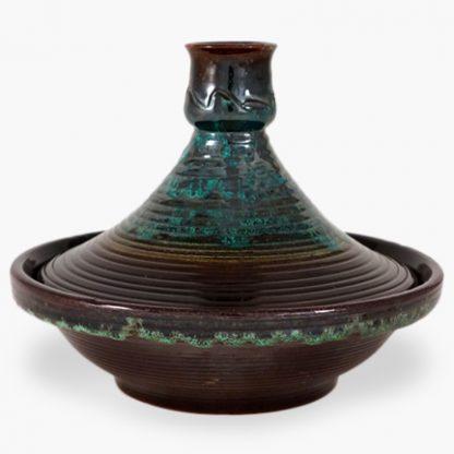 Bram 2 quart Tagine - Dark Brown with Turquoise Drip Glaze