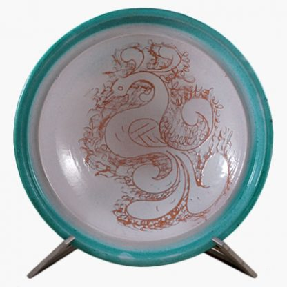 Bram 1½ quart Hand-painted Tagine Cooking Surface - Turquoise Peacocks Design