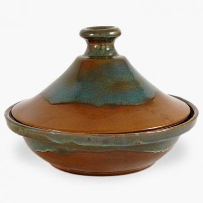 Bram 2 quart Tagine - Brown and Turquoise Drip Glaze