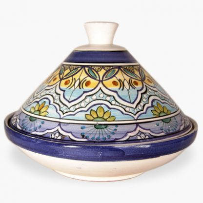 Bram 2½ quart Hand-painted Tagine - White and Blue with Light Blue and Yellow Tones and Green and Orange Accents