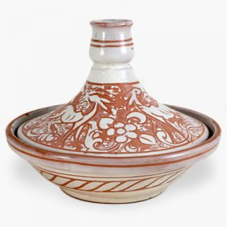 Bram 2 quart Hand-painted Tagine - White Forest Design