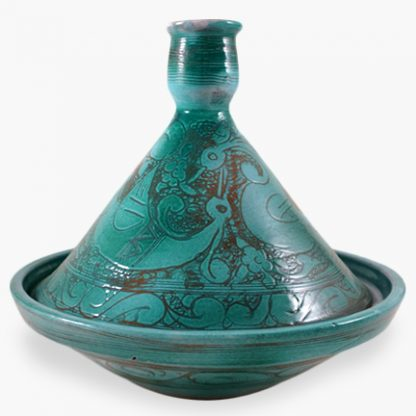 Bram 1½ quart Hand-painted Tagine - Turquoise Peacocks Design