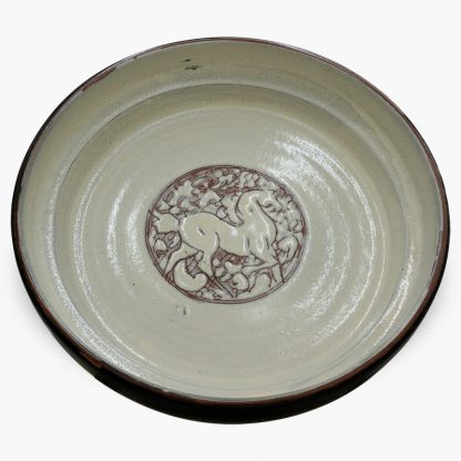 Bram 2 quart Hand-painted Tagine - Black and Dark Olive Horses Design - Cream Base