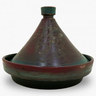 Bram 2 quart Hand-painted Tagine - Burgundy and Green Peacocks Design