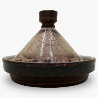 "Bram 2 quart Hand-painted Tagine - Mocha ""Enjoy Your Meal"" in Arabic"