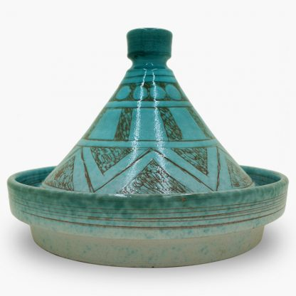 Bram 2 quart Hand-painted Tagine - Turquoise Moon and Stars Design