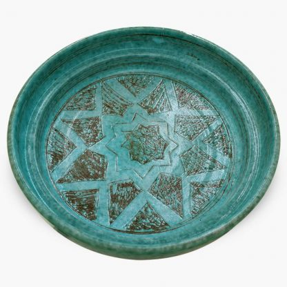 Bram 2 quart Hand-painted Tagine - Turquoise Moon and Stars Design - Base
