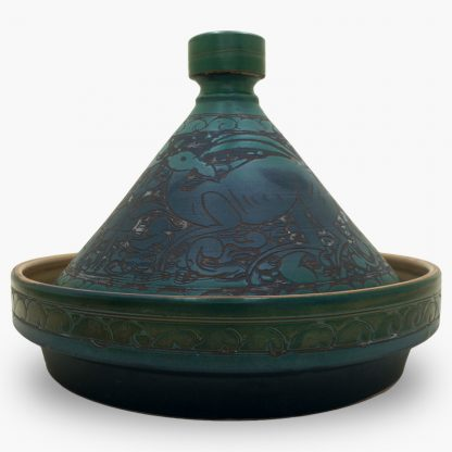 Bram 2 quart Hand-painted Tagine - Turquoise and Blue Gazelles Design
