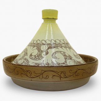 Bram 2 quart Hand-painted Tagine - Yellow Flower and Vines Design