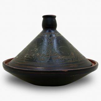 Bram 3½ quart Hand-painted Tagine - Black and Dark Olive Fish Design