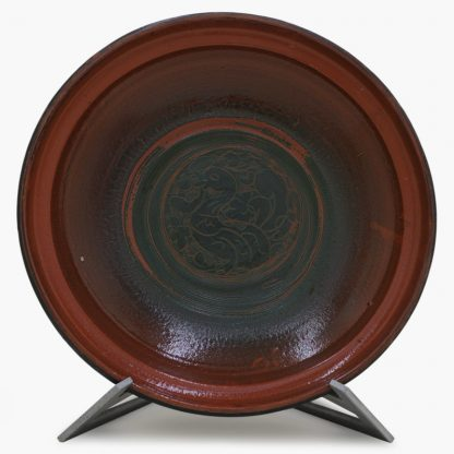 Bram 3½ quart Hand-painted Tagine - Black and Dark Olive Fish Design - Glossy Terra Cotta and Dark Olive Green Base with Peacock