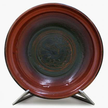 Bram 3½ quart Hand-painted Tagine - Black and Dark Olive Lovebirds Design - Glossy Terra Cotta and Dark Olive Green BaseBase