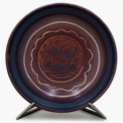 Bram 3½ quart Hand-painted Tagine - Tri-Color Peacocks Design - Matte Burgundy and Blue Base with Camels