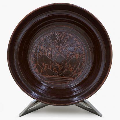 Bram 3½ quart Hand-painted Tagine - Espresso Brown Camels Design - Glossy Brown Base