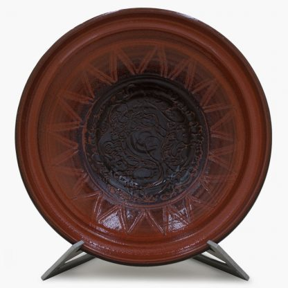 Bram 3½ quart Hand-painted Tagine - Mocha Peacocks Design - Glossy Terra Cotta and Dark Brown Base