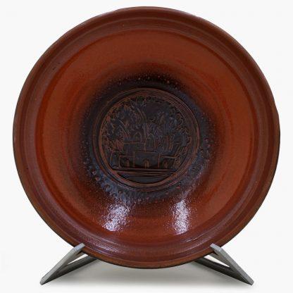 Bram 3½ quart Hand-painted Tagine - Mocha Sahara Design - Glossy Terra Cotta and Dark Brown Base
