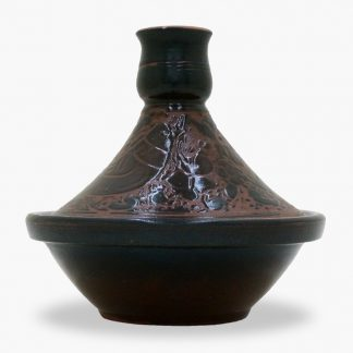 Bram 2½ cup Hand-painted Tagine - Espresso Brown Lovebirds