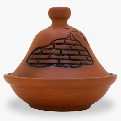 Bram 2½ cup Hand-painted Tagine - Terra Cotta Freeform Brick Design