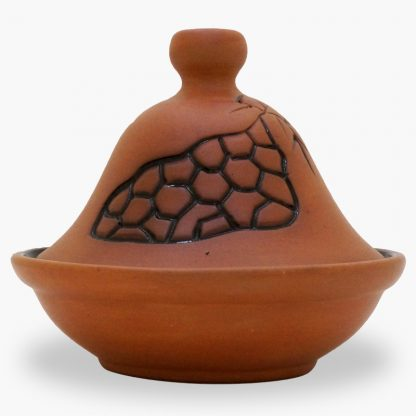 Bram 2½ cup Hand-painted Tagine - Terra Cotta Freeform Honeycomb Design