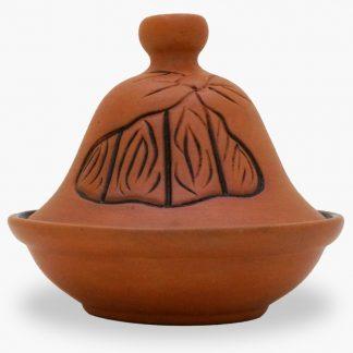 Bram 2½ cup Hand-painted Tagine - Terra Cotta Freeform Flames Design