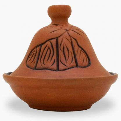 Bram 2½ cup Hand-painted Tagine - Terra Cotta Freeform Flames Design