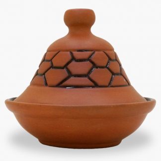 Bram 2½ cup Hand-painted Tagine - Terra Cotta Honeycomb Design