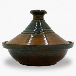 Bram 1½ quart Tagine - Ribbed Honey Assalie and Turquoise Drip Glaze