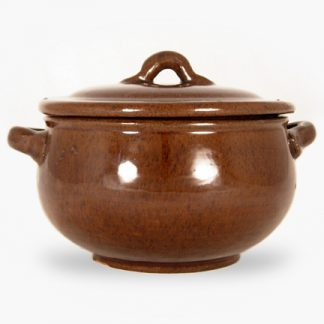 Bram 2.25 quart Bean Pot - Round Covered Casserole - Assalie Brown