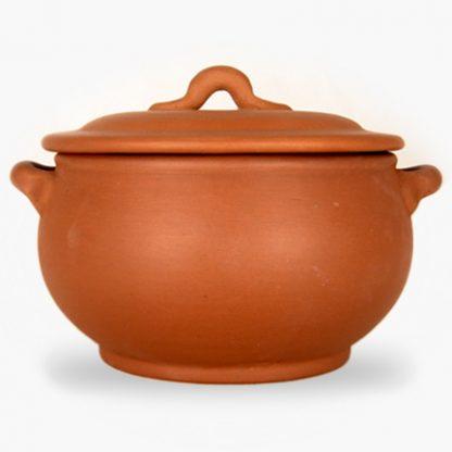 Bram 2.25 quart Bean Pot - Round Covered Casserole - Terra Cotta with Assalie Brown Glaze inside