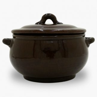 Bram 1.5 quart Bean Pot - Round Covered Casserole - Dark Assalie Brown